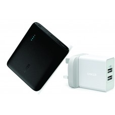 Anker PowerCore 10400mAh Powerbank + Anker PowerPort 24W 2 Port USB Wall Charger Combo