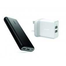 Anker PowerCore 20100 Power Bank + 24W 2-Port USB Wall Charger White