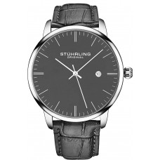 Stuhrling Original Mens Watch Calfskin Leather Strap - Analog Watch Dial with Date, 3997Z