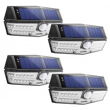 LITOM 30 LED Solar Lights Outdoor, IP67 Waterproof Wireless Motion Sensor Lights (4 Pack)