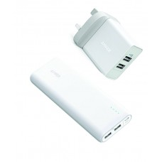 Anker PowerCore 15600mAh Portable Charger with Anker 24W 2-Port USB Wall Charger white