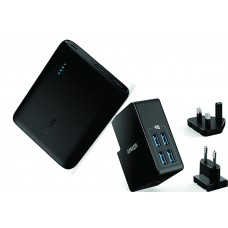 Anker PowerCore 10400mAh Powerbank + Anker 27W PowerPort 4 Lite 4-Port USB Wall Charger Black Combo