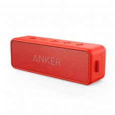 Anker SoundCore 2 Portable Bluetooth Speaker with Better Bass, 24-Hour Playtime, IPX5 Water Resistance & Built-in Mic - Red