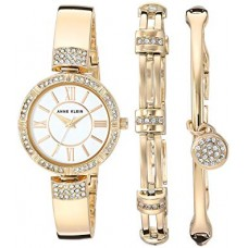 Anne Klein Women's Swarovski Crystal Accented Watch and Bracelet Set - AK/3294GBST