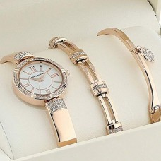 Anne Klein Women's Swarovski Crystal Accented Watch and Bracelet Set - AK/3294RGST