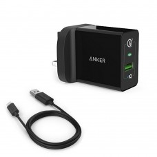 Anker 18w PowerPort+ 1 With Quick Charge 3.0 UK + 3ft Micro USB Cable