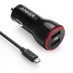 Anker 24W PowerDrive 2 Dual USB Car Charger + 3ft Micro USB - Black