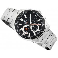Casio Men's Edifice Quartz Watch with Stainless-Steel Strap, Silver - Model: EFV-570D-1AV
