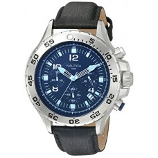 Nautica Men's NAD19536G NST Chrono Blue Crystal Analog Display Analog Quartz Black Watch
