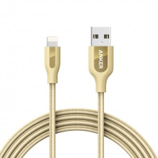 Anker PowerLine+ Lightning Cable (6ft) with Pouch Double Nylon Braided - Golden